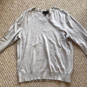 Banana Republic Heather Grey V-Neck Sweater